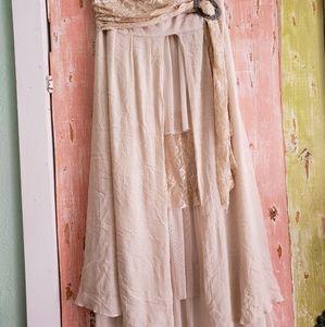 Pretty Angel cream lace tired maxi skirt